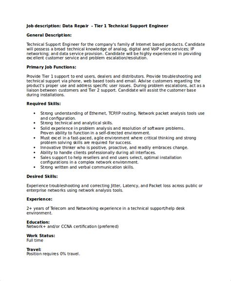 Technical Support Resume by Technical Resume Template 6 Free Word Pdf Document