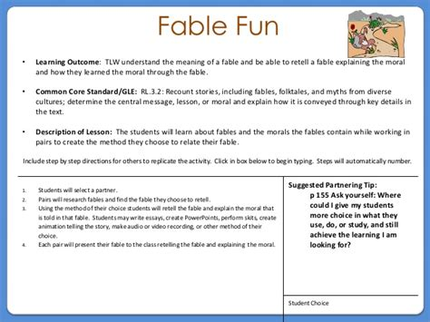 Fables Worksheets For 3rd Grade by Grade 3 Fable Activity