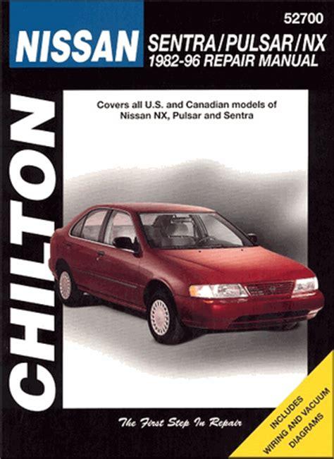 motor repair manual 1992 nissan sentra free book repair manuals nissan sentra pulsar nx repair manual 1982 1996 chilton 52700