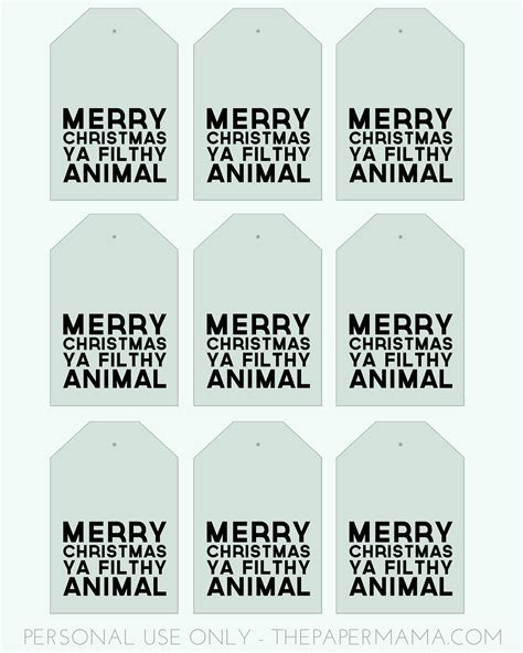 Day 40 Merry Christmas Ya Filthy Animal Gift Tags Merry Tags Template