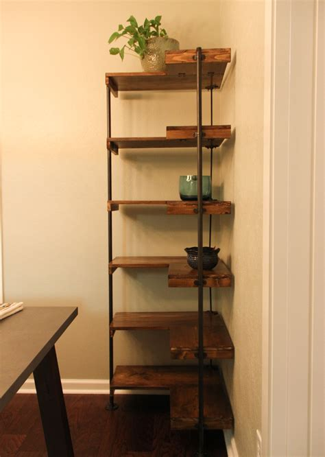 a rustic industrial free standing corner shelf set