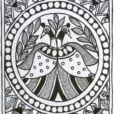 black and white madhubani painting peacocks m a d h u