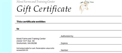 Mone Farms And Training Center Riding Lessons Horseback Gift Certificate Template