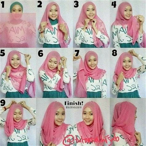 tutorial gambar jilbab cara memakai jilbab ke pesta pernikahan