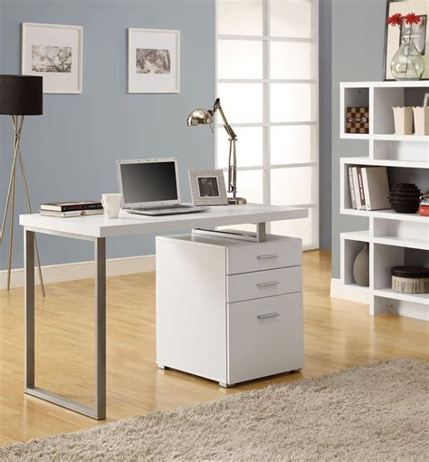 White Office Desk Modern White Office Desk Laptop Workstation With Drawer Minimalist Desk Design Ideas