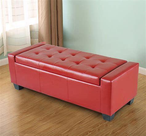 red storage bench homcom modern faux leather ottoman footrest sofa shoe storage bench seat red ebay