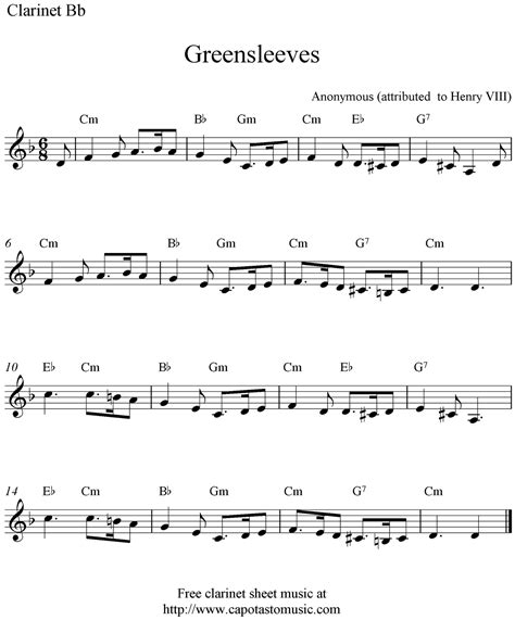 printable sheet music for clarinet greensleeves free clarinet sheet music notes