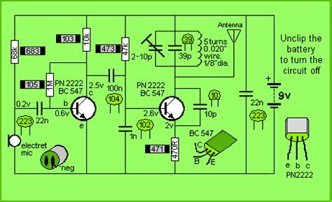 2 transistor fm transmitter circuit make simple fm transmitter using two 2n2222 transistors and simple handmade inductor