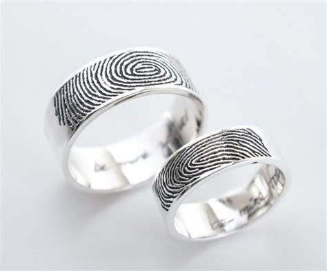 set of 2 actual fingerprint and handwriting rings