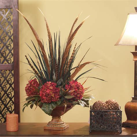 pheasant home decor pheasant feathers hydrangea floral design ar215 100