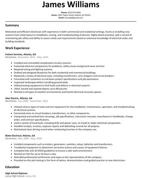 free cv sles electrician electrician resume sle resumelift