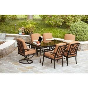Patio Dining Sets Cheap Hton Bay Cedarvale 7 Patio Dining Set With Nutmeg Cushions Other Home And Colors