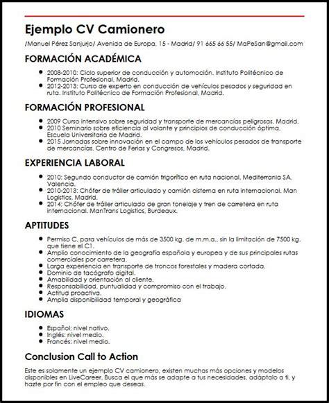 Modelo Curriculum Vitae De Un Conductor Ejemplo Cv Camionero Micvideal
