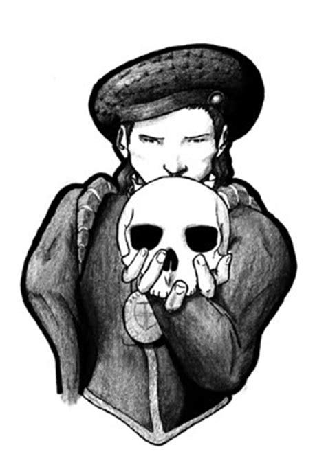 Hamlet holding a skull. The very skull of his former
