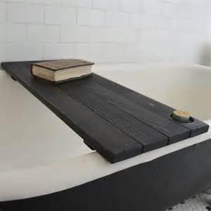 custom ebonized reclaimed wood tub caddy by peg and awl