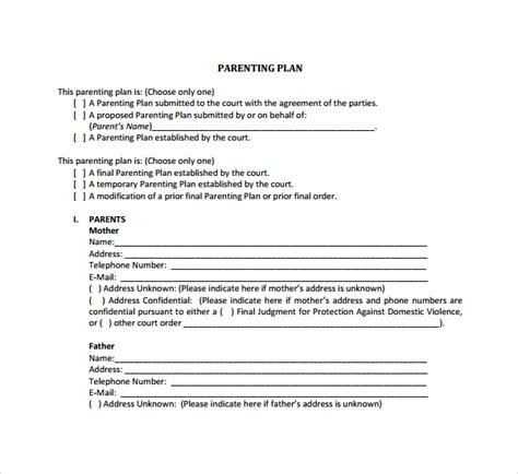 9 Parenting Plan Templates Sle Templates Parenting Agreement Template
