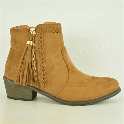 new womens fringe ankle boots mid block heel