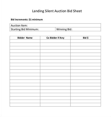 silent auction master list template 19 sle silent auction bid sheet templates to