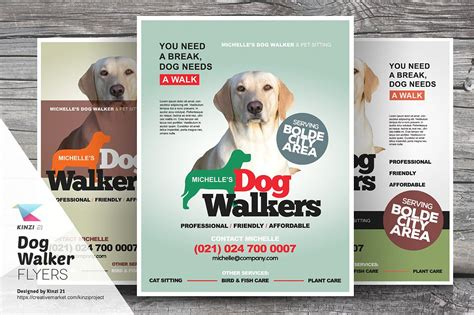 dog walker flyer templates flyer templates creative market