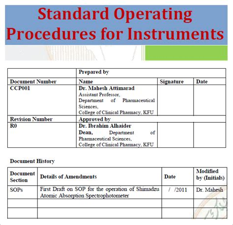 procedure template exle standard operating procedure template excel pdf formats