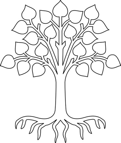 Tree With Roots White Clip Art At Clker Com Vector Clip Tree Coloring Page Outline