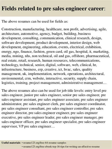 top 8 pre sales engineer resume sles