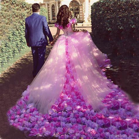Dress Ungu Flower made flowers pink wedding dresses 2017 fashion