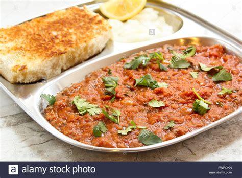indian food pav bhaji pav bhaji masala indian food on steel plate stock