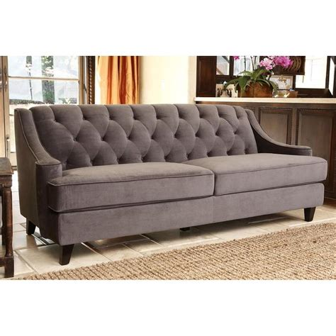 abbyson living claridge grey velvet fabric tufted sofa