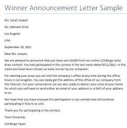 Appreciation Letter Award Winner winner announcement letter writing professional letters