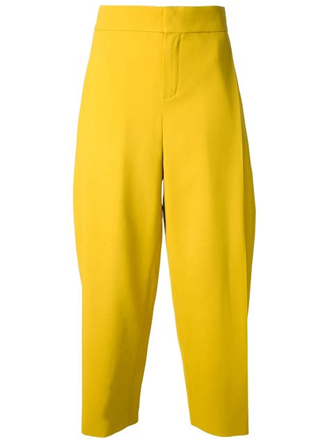 19213 Yellow Wide Leg Trousers lyst chlo 233 wide leg trouser in yellow
