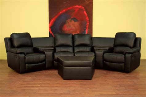 Home Theatre Sofas by Wholesale Interiors Four Seat Curved Leather Home Theater