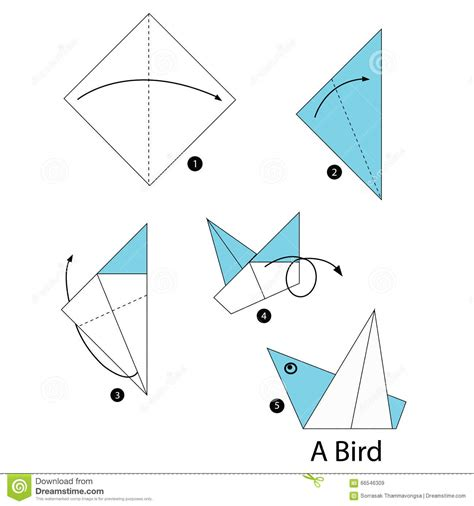 Steps To Make A Paper Bird - step by step how to make origami bird stock