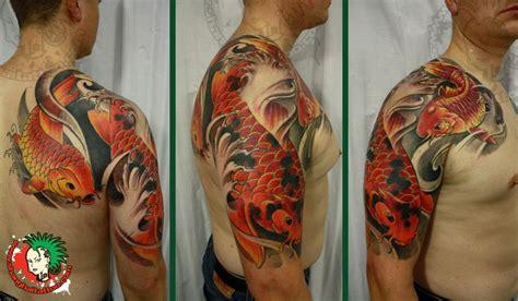 koi fish tattoo arm chest 4 koi fish sleeve tattoos for men koi fish and lotus half