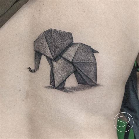 full body elephant tattoo fine line origami elephant tattoo on the right side of
