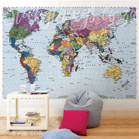Large World Map Wall Stickers large world map wall sticker peenmedia