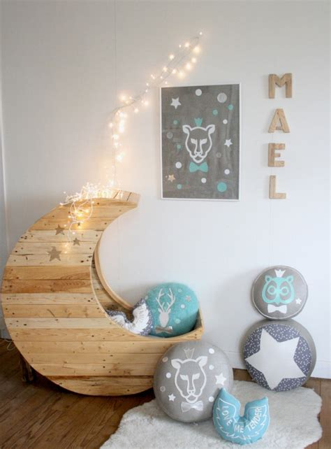 cozy baby crib with moon shape