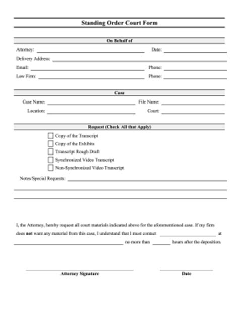 printable court standing order form legal pleading template