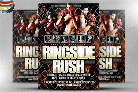 boxing fight card template ringside flyer template flyer templates on creative