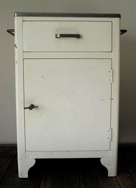Vintage Industrial Metal Medical Cabinet   Vintage