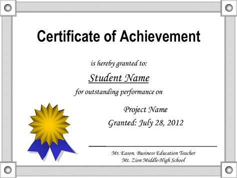 word template certificate of achievement certificate of achievement template