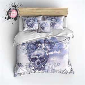flower skull comforter purple and blue watercolor flower skull duvet bedding sets
