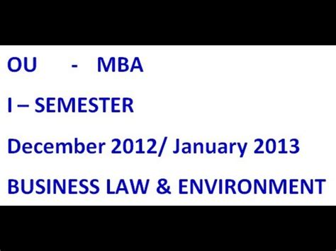 Mba Results 2013 Ou 4th Sem by Ou Mba 1st Semester Business And Environment Dec 2012
