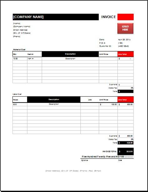 ms excel electrician invoice template excel invoice