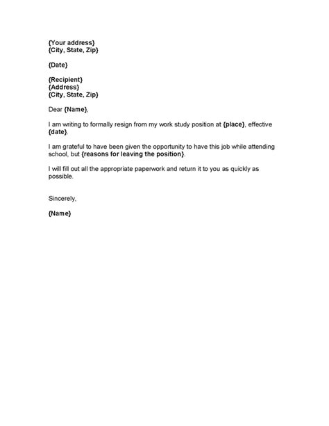 work resignation template resume exles templates resignation letter from work