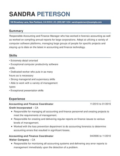 Resume For Accounting by Accounting Finance Chronological Resumes Resume Help