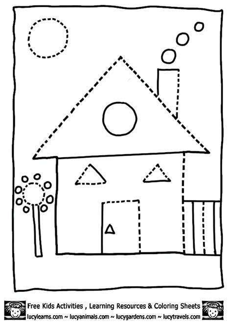 kindergarten activities my house house shape coloring pages dot to dots 8 gif 603 215 848