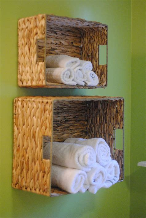 bathroom wall storage baskets diy bathroom towel storage in under 5 minutes making