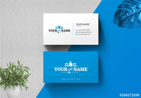 Business Card Template Adobe Stock by Business Card Layout With Water Drop Illustration Buy