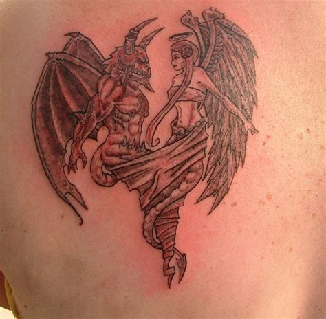 angel vs demon tattoo picture and sleeves
